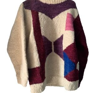 Wooly Wagon Oversized 80s 90s Geometric Sweater